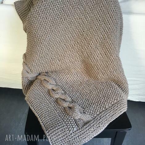 koc, gruby pled beŻowy 130x160 cm - koc, pled, wełna, knitting, handmade, narzuta