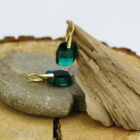 kolczyki srebrne swarovski emerald, kolczyki, srebro, złocone, swarovski, emerald