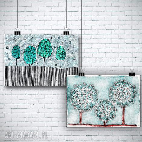 zestaw 2 prac, drzewa, drzewka, natura, widok, plakat, święta prezent