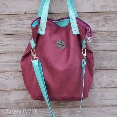 pod choinkę prezent, na ramię torba worek aqua plum, handmade, śliwka, pojemna