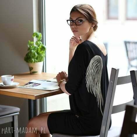 nun mi tunika skrzydła black angel, skrzydła, malowanka, aniol, tunika, wiskoza