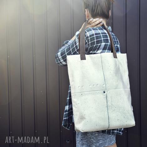 torba mr m beton uszy skóra naturalna - beton, torba, oryginalna, skóra, naturalna