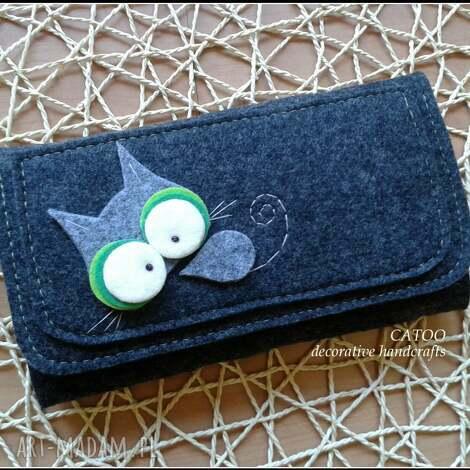 portfele duzy portfel od catoo, portfel, prezent, filc, kot, kotek