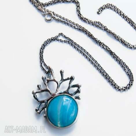 levente blue - naszyjnik srebrny a430 - naszyjnik, agat, srebro, srebrne, oksydowane