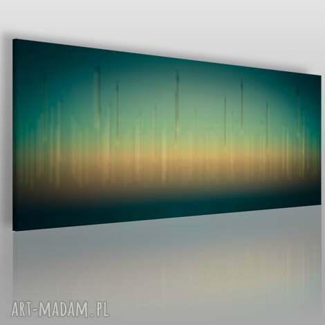 obraz na płótnie - abstrakcja zielony żółty 120x50 cm 06901 , panorama
