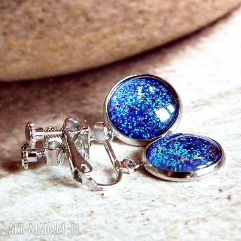 klipsy shaphire galaxy, klips, niebieskie, wiszace, wygodne, srebrne, regulacja