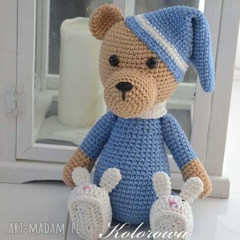 miś śpioszek - m niebieski, miś, piżama, dziecko, przytulanka, misiaczek dla dziecka