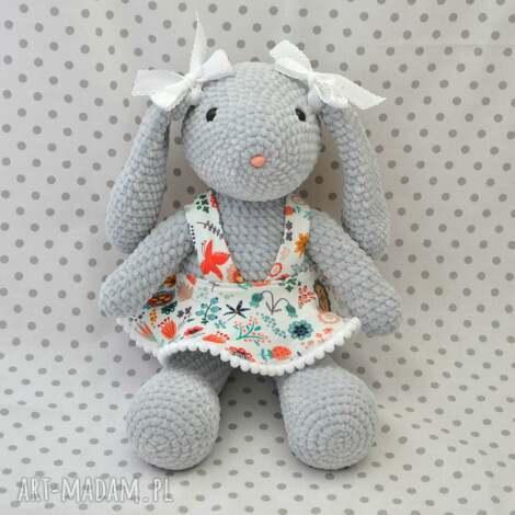 szydełkowa maskotka króliczek szary - maskotka, króliczek, królik, szary