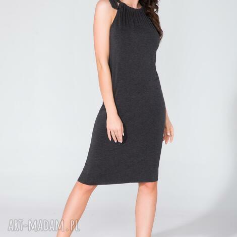 sukienka z kokardą t127 ciemnoszary - sukienka, wiązana, kokarda, letnia