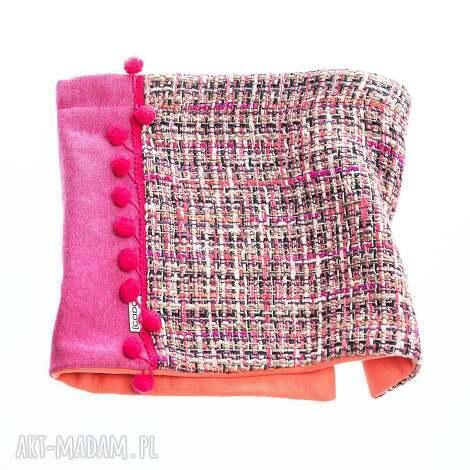 ciepły wygodny dzianinowy komin szalik pink tweed, pompony, ciepłe, dzianinowe