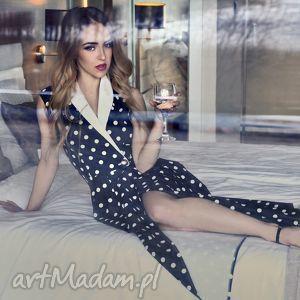 sukienka midi w stylu tuxedo bez rekawow, sukienka, damska, tuxedo, grochy, granatowa