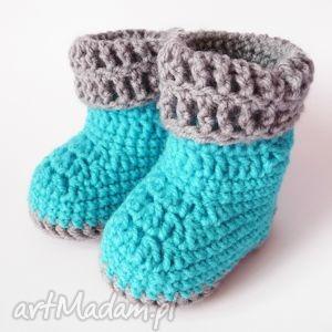 buciki szydełkowe niebieskie, buciki, szydełkowe, botki dla dziecka
