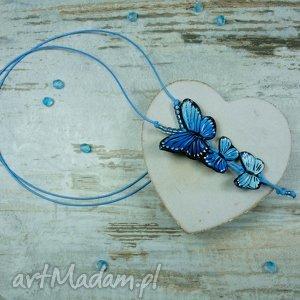 długi wisiorek z motylami, motyle, wisior, długi, fimo, handmade, motyl