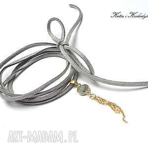 choker grey gold - naszyjnik, srebro, pozłacane, labradoryt, chwost, rzemień