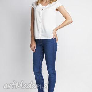 bluzki koszula, k102 ecru, bluzka, koszulka, biała, elegancka ubrania, unikalny