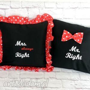 folky mr right mrs poduszki dekoracyjne zestaw , mr, mrs