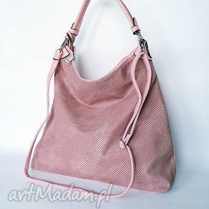duża torba na ramię pudrowy róż, torba, torebka, worek ramię