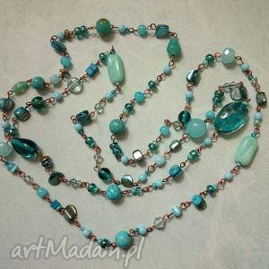 naszyjniki turkusowe, korale, naszyjnik, szkło, perła biżuteria