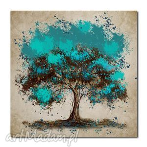 duże drzewo turkusowe - d1 -80x80cm obraz na płótnie, obraz, na, płótnie obrazy dom