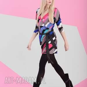 nun mi sukienka kolorowa busta multicolor, mulitkolor, sukienka, kopertowa, wiosna