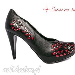 swarne buty czerwona wycinanka niepleciona, folk, ludowe, goralskie