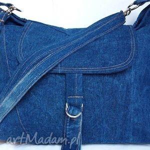 duża torba z niebieskiego jeansu, torba, jeans, tkanina, recykling, podróż, modna