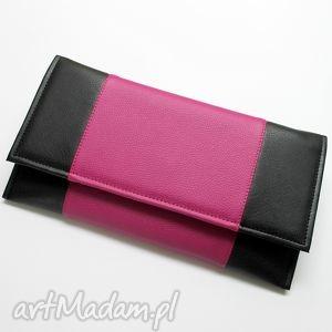 ręcznie robione kopertówki kopertówka - czarna i środek fuksja