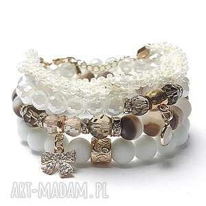 white and chocolate vol 3 02 01 17 set, szkło, agaty, matowe, cyrkonie