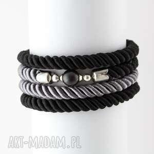 bransoletki bransoletka owijana spiralna sznurkowa czarna, bransoletka, owijana, lina