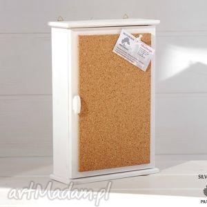 pudełka szafka na klucze memory z tablicą korkową, biała, skrzynka, klucze