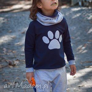 oryginalny prezent, bluza łapki, granatowy, ubranka dla dziecka