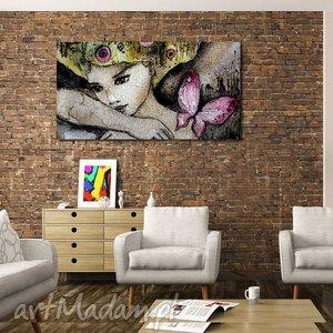 obraz xxl kobieta 1 - 120x70cm na płótnie, obraz, kobieta, motyl