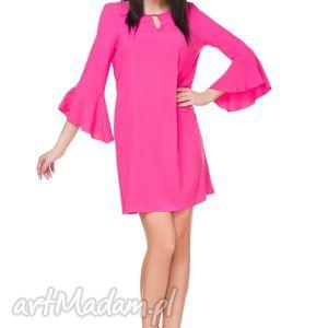 ręcznie zrobione sukienki sukienka szyfonowa t173, ciemnoróżowa