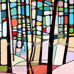 grafika pastelkowy las, drzewa, plakat, reprodukcja, obraz, prezent dom