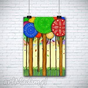 kolorowe drzewa a3, drzewa, plakat