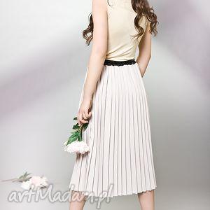 plisowana spódnica z kaszmiru, plisowana, kokardka, kobieca, sweet, stylowa
