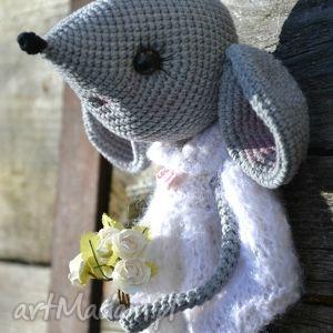 szydełkowa przytulanka, myszka zosia - szydełko, prezent, urodziny