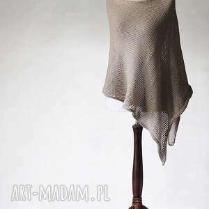 poncho z mieszanki lnu i bawełny, poncho, dzianina, sweter, len, bawełna