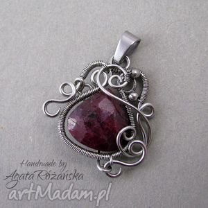 wisior rubin naturalny, stal chirurgiczna, wire wrapping , wrapping