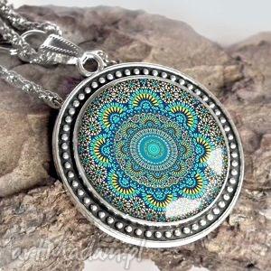 turkusowa mandala - piękny naszyjnik, duży, niebieski, wisior, etno, etniczny