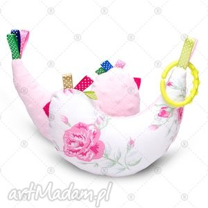 kurka przytulanka sensorek maskotka minky - różowe róże, minky