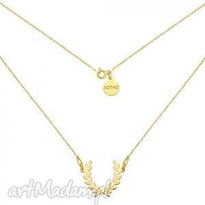 złoty naszyjnik z liściem laurowym, modny, naszyjnik, liście, ornament, laurowy