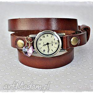 zegarki czas na miłość - zegarek skórzany, zegarek, skóra, swarovski, prezent