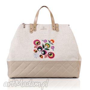 farbotka torba podróżna folk 423, len, haft, podróżna, folk, rękodzieło torebki