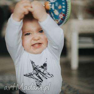 tricky forms białe body dla dzieci i niemowląt z długim rękawem - gwiazda