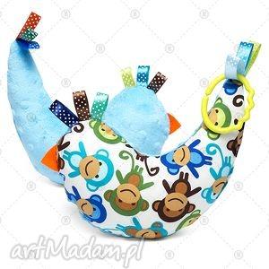 makaszka kurka przytulanka sensorek maskotka minky - niebieskie małpki
