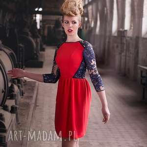 koralowa sukienka z koronkowymi elementami, sukienka, koral, czerwień, koronka