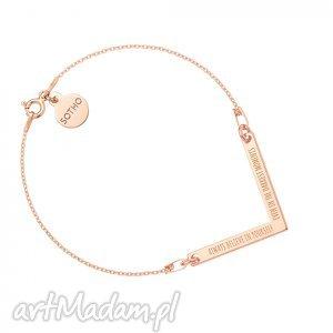 bransoletka z różowego złota zawieszką v always believe in yourself , modna