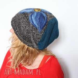 ruda klara czapka handmade czesanką filcowane czapki , czapka, wełna, kwiaty, mama