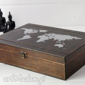 świat - skrzynka na skarby, świat, pamiątki, drewniana, skrzynka, oryginalna
